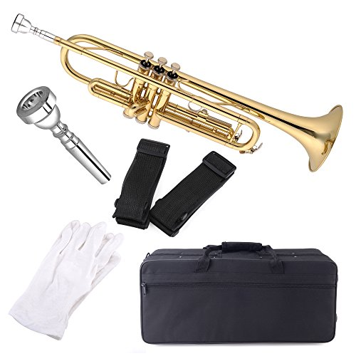 Aileen Lexington Gold Bb Key Student Model Trumpet Includes Hard Case, Cleaning Rod and Cloth, Gloves by Aileen