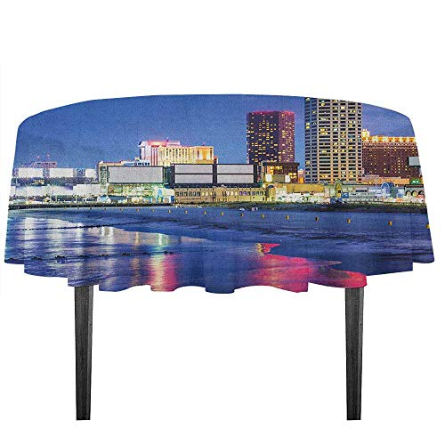 - kangkaishi City Washable Tablecloth Resort Casinos on Shore at Night Atlantic City New Jersey United States Desktop Protection pad D43.3 Inch Violet Blue Pink Yellow