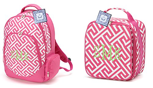 School Bundle Greek Key Backpack and Lunch Bag, Pink (NON-PERSONALIZED) (Personalized Backpacks compare prices)