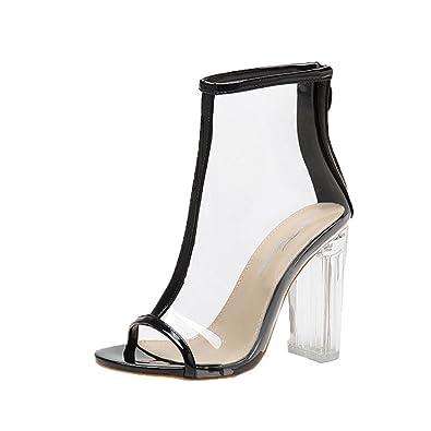 Ansenesna Sandalen Damen Sommer Leder mit Absatz 11cm,Peep Toe Blockabsatz Elegant  Schuhe Für Party cdca21be92