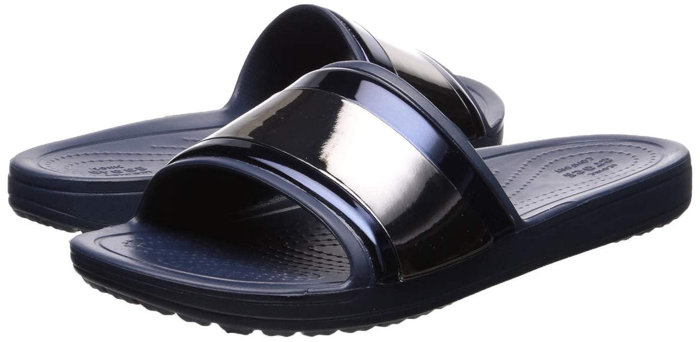 3a4a477c2e632 Amazon.com   Crocs Women's Sloane MetalBlock Flip Slide Sandal Multi Navy,  5 M US   Flip-Flops