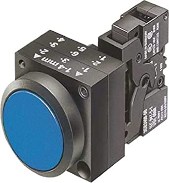 Siemens 3SB3251-0AA51 Pushbutton Unit, Flat Button, Momentary Operation, Illuminated, 110VAC/VDC Integrated LED, 1 NO + 1 NC Contact Type, Blue