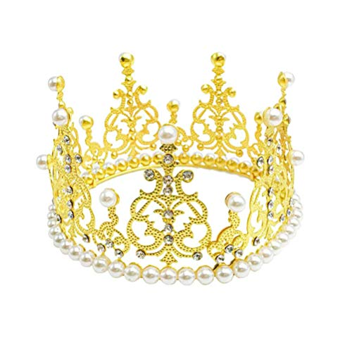 Crown Cake Topper Decoration - Vintage Style Royal Centerpiece for Birthdays, Quinceañeras, Weddings, Bridal/Baby Showers, Prom, Prince/Princess - Gold Decorations with Rhinestones & Pearls -