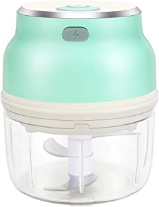 Electric Mini Food Chopper, Wireless Garlic Grinder with Three Blade, Portable Food Processor Mincer Blender for Garlic, Fruits, Vegetables, Meat, Nuts, Pepper and Salad (125 ML Mint Green)