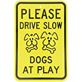 """SmartSign 3M Engineer Grade Reflective Sign, Legend """"Please Drive Slow-Dogs at Play"""" with Graphic, 18"""" High X 12"""" Wide, Black on Yellow"""