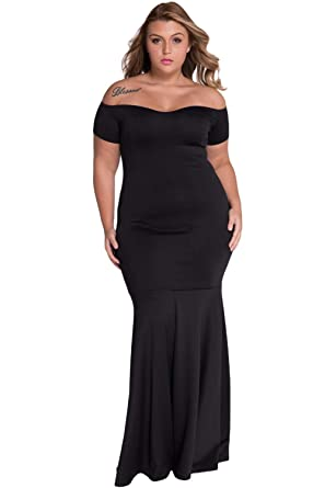 Amazon.com: Foryingni Women\'s Plus Size Off Shoulder Evening Formal ...
