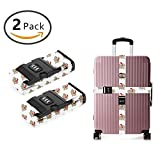 YEAHSPACE 2 Pack Christmas Hippo White Luggage Strap Straps TSA Combination Lock Adjustable Travel Belts Suitcase Belt
