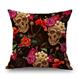 Elliot_yew Throw Pillow Covers,YIFAN 4PcsIndiana Skull Mexican Day of the Dead Sugar Skull Cotton Linen Square Shaped Decorative Sofa Chair Couch Pillowcase Pillowslip 4545cm-Pattern 4