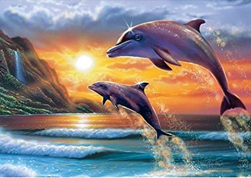 DIY 5D Diamond Painting by Number Kit, Dolphin Crystal Rhinestone Embroidery Cross Stitch Ornaments Arts Craft Canvas Wall Decor