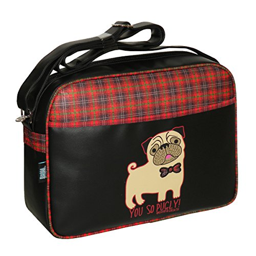 "David Goliath & You So Pugly "", borsa Messenger, motivo Tartan"