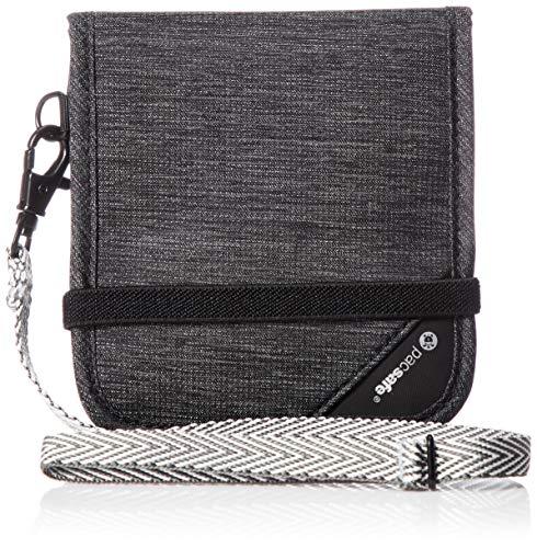 Pacsafe RFIDsafe V100 Anti-Theft RFID Blocking Bi-Fold Wallet, Granite Melange Grey
