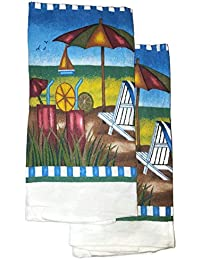 Bargain 2 Piece Cocktail Oceanside Beach Nautical Cotton Dish Towels 15 X 25 Inch lowestprice