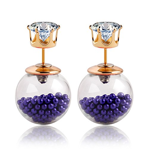 Winter's Secret Transparent Hollow Blue Beads Glass Ball Two Kinds of Wearing Zircon Stud Earring