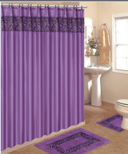 - 4 Piece Bath Rug Set / 3 Piece Purple Zebra Bathroom Rugs with Fabric Shower Curtain and Matching Mat/rings