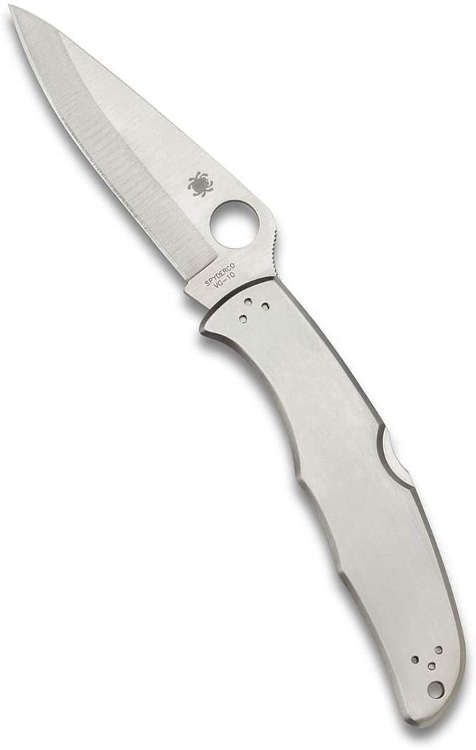 Spyderco Endura 4 Signature Folder Knife with 3.85 VG-10 Steel Blade and Stainless Steel Handle - PlainEdge Grind - C10P