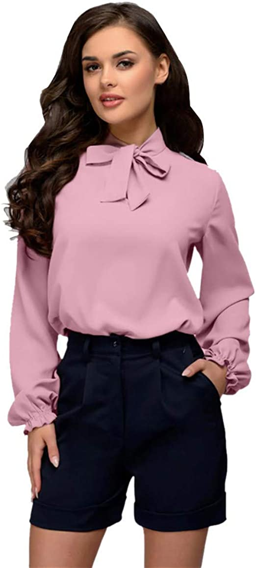 UK Ladies Office Career Blouse Pullover Long Sleeve V-neck Loose Women Top Shirt