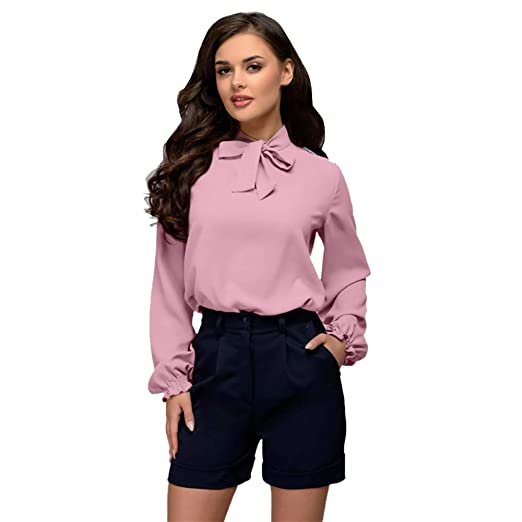 db611e6e982 Dacawin Fashion Women Long Sleeve Blouse Bowknot Solid Color Shirt ...