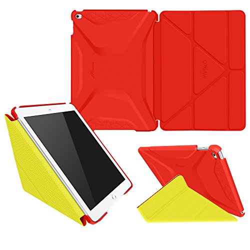 iPad Air 2 Case, Apple iPad Air 2 Case, rooCASE Origami Ultra Slim Fit Thin Lightweight Shell PU Leather Folio Case with Auto Sleep Wake Smart Cover, Red / Yellow (will NOT fit New iPad 2017)