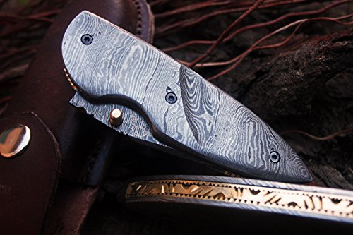 DKC Knives (6 7/18) SALE DKC-121 ZORKA Pocket Folding Damascus Steel Hunting Knife 7.5'' Long, 3'' Blade 4.5'' Folded 10oz Work of Art ! by DKC Knives (Image #4)