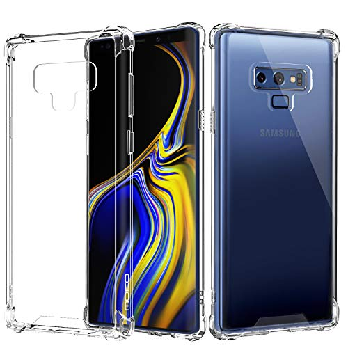 MoKo Samsung Galaxy Note 9 Case, Crystal Clear Reinforced Corners TPU Bumper + Anti-scratch Hybrid Rugged Transparent Panel Cover Fit with Samsung Galaxy Note 9 (2018) 6.4 Inch - Crystal Clear