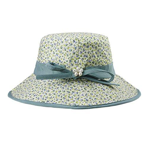 Women's Floppy Sun Hats Topee Anti-UV Sun Protection Travel Fishing Beach Packable Bucket Hat Flap Cap Cotton UPF 50+ Sun Visor Sweet Bowknot Foldable Summer Travel Sun Hat Wide Brim with Neck Cord