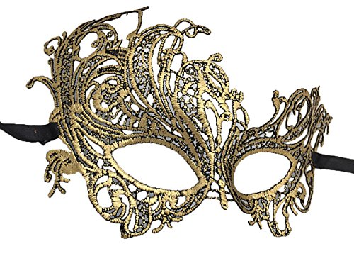 Coolwife Women's Venetian Crochet Ball Lace Masquerade Mask Halloween Retro Fashion Mask (Swan Gold) -