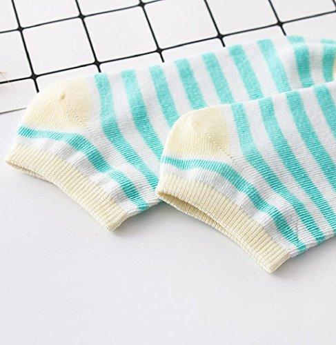 1 Paar Dames Sokken, Sagton Vrouwen Gestreepte Katoenen Sokken Korte Crew Sokken Enkelsokken Beige