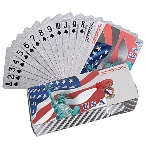 Joyoldelf Silver Foil Playing Cards, Waterproof Poker with National Flag Pattern in Gift Box for Magic, Game and Party (Silver)