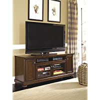 Porter W697-58 Extra Large TV Stand Including 7 Shelves and 4 Doors with Adjustable Shelf Hole(s) for Wiring and Molding Detail in Rustic Brown
