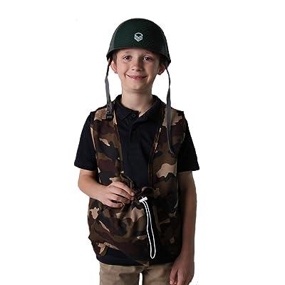 Kids Camo Army Vest & Helmet Costume Set Size Medium: Toys & Games