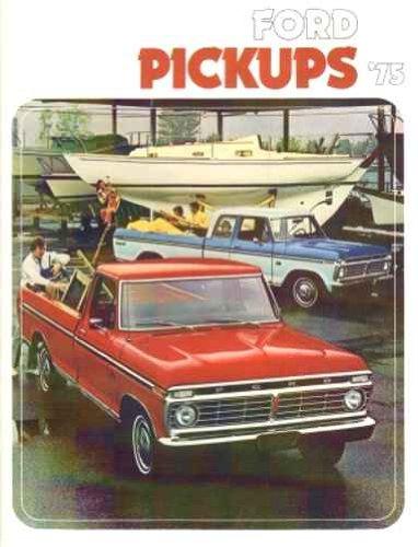 1975 FORD DEALERSHIP SALES BROCHURE - ADVERTISMENT -OPTIONS, COLORS, SPECS. FOR PICKUP TRUCKS. INCLUDES F-100, F-150, F-250, F-350 and 4-Wheel Drive pickup trucks, super cab & crew cab options. 75