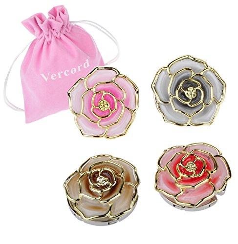 Vercord 4 Pcs Rose Theme Foldable Instant Bag Handbag Purse Hangers Hooks, Flowers#7