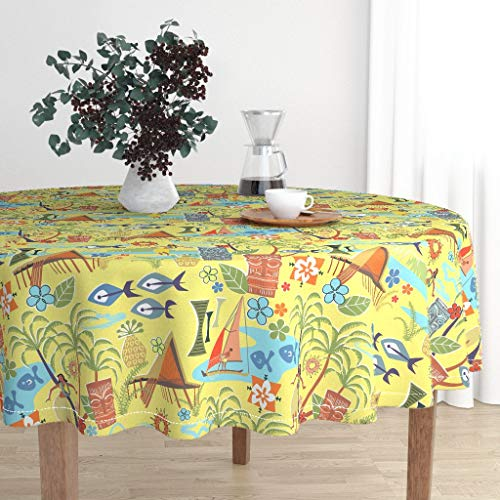 Tiki Island Table - Roostery Round Tablecloth - Hawaii Tiki Fish Palm Mid Century Tropical Islands by Vinpauld - Cotton Sateen Tablecloth 70in