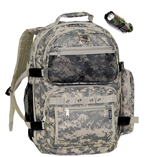 Camo Backpack and Flashlight Bundle includes Heavy Duty Oversize Camouflage Backpack with 5 Zip Compartments and High Power Adjustable Mini (Brookfield 1 Light)