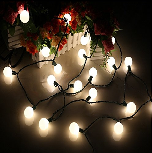 (Heavy Duty)G40 Globe Outdoor String Lights,17 Ft 25 LED Garden Patio Bar Wedding Party Christmas Lights Mood Lighting for Indoor Outdoor Use,2 Fuses Include MAXINDA (G40, white) (Lights For Bulb Christmas Fuse)