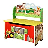 Teamson Design Corp Fantasy Fields - Happy Farm Animals Thematic Kids Storage Bench  | Imagination Inspiring Hand Crafted & Hand Painted Details | Non-Toxic, Lead Free Water-based Paint