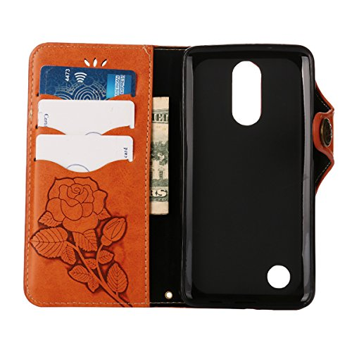 MEIRISHUN Leather Wallet Case Cover Carcasa Funda con Ranura de Tarjeta Cierre Magnético y función de soporte para LG K8(2017) - Caqui naranja