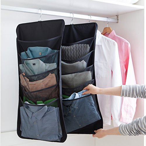 UNIKON 6 Pockets Hanging Closet Dual-sided Organizer Hanging Toiletry Bag Book Shelf, Black