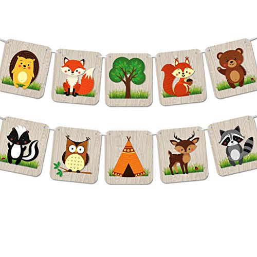 Woodland Creatures Banner - Camping Birthday Party or Baby Shower Nursery Decorations Supplies - Forest Animals (LARGE) -