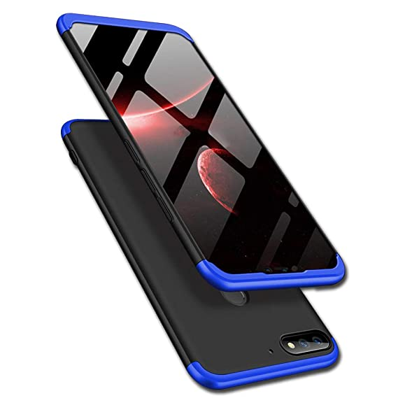 TheGiftKart Full Body 3 in 1 Slim Fit Complete 3D 360 Degree Protection  Hybrid Hard Bumper Back Case Cover for Huawei Honor 9N (Blue & Black)