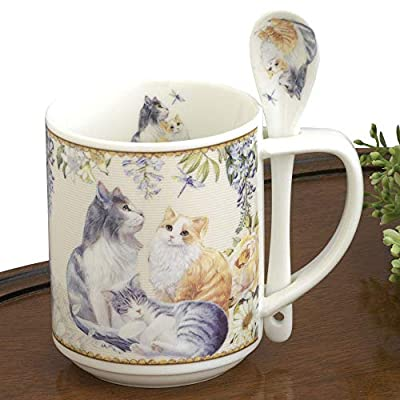 Cat Fan related Products Bits and Pieces – 10 OZ Cat Mug with Teaspoon – Coffee and...