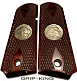 1911 COMPACT GRIPS,SALE $39.73. FITS 3-4 INCH BARRELS,COLT,KIMBER CDP,SIG,PARA SPRINGFIELD,DEFENDERS,OFFICERS. GENUINE PAIR U.S. MINT BUFFALO NICKELS FITTED AS MEDALLIONS.MADE IN U.S.A.