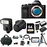 Sony ILCE-7S Alpha a7S Full Frame Mirrorless Camera (Body Only) +Sony HVL-F32M External Flash +Sony 64GB SDXC Card +NP-FW50 Battery & Charger +Sony Leather Case for a7/ a7R +Accessory Bundle