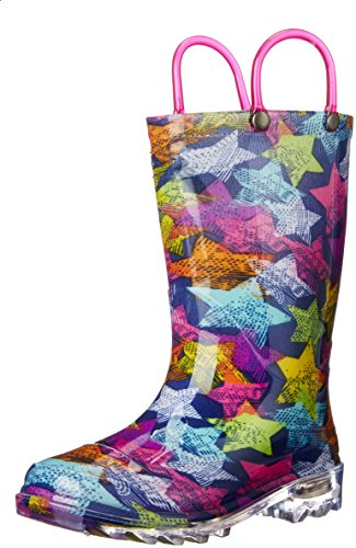 Western Chief Girls Light-Up Rain Boot, Scribble Stars, 9 M US Toddler