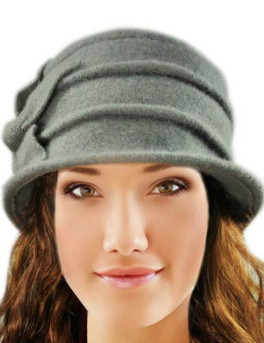 98307498dfc Dahlia Women s Daisy Flower Wool Cloche Bucket Hat - Light Gray ...