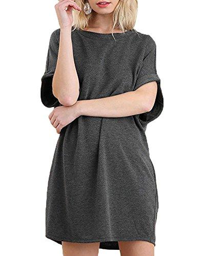Charming Tunic Dress - Chuanqi Womens Loose T Shirt Dresses Causal Short Sleeve Shift Dress Tunic Tops with Pockets