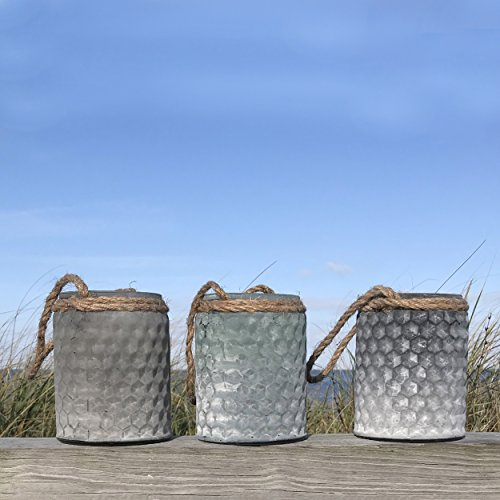 The Boat Yard Rope Hurricane Lamps, Set of 3, Shabby Weathered Blue, Lavender, and Gray, Candle Holders, Milky Hobnail Glass, For LED or Wax Votive Tealights, Wind Lights, 4 L x 4 W x 5 ¼ H Inches (Blue Glass Hobnail)