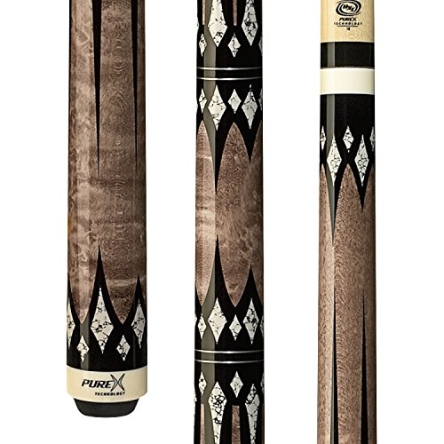 - PureX HXT-65 Antique Birds-Eye Maple with Black and White Daggers and Diamonds Technology Pool Cue, 20-Ounce