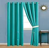 Cheap GrandLinen 4 Piece Turquoise Blue/Light Brown/Beige Tropical Coast, Seashell, Beach Embroidery Microfiber Curtain Set 108 inch Wide X 84 inch Long (2 window panels, 2 ties)