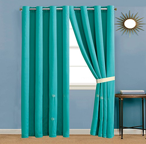 GrandLinen 4 Piece Turquoise Blue/Light Brown/Beige Tropical Coast, Seashell, Beach Embroidery Microfiber Curtain Set 108 inch Wide X 84 inch Long (2 window panels, 2 ties)